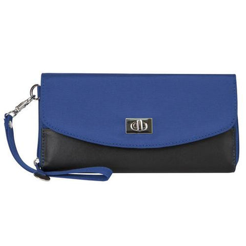 Travelon SafeID Accent Turn Lock Clutch Wallet, Cobalt Blue