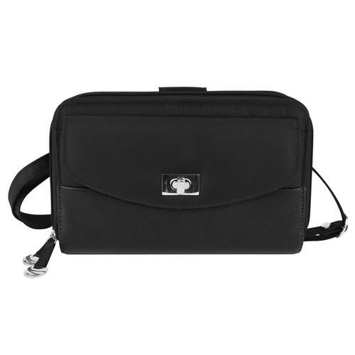 Travelon SafeID Accent Double Zip Clutch Wallet, Black