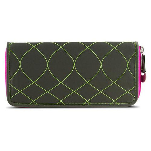 Travelon SafeID Hack-Proof Embroidered Ladies RFID Wallet - Olive/Berry