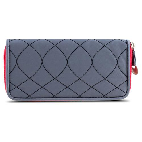 Travelon SafeID Hack-Proof Embroidered Ladies RFID Wallet  Gray/Scarlet