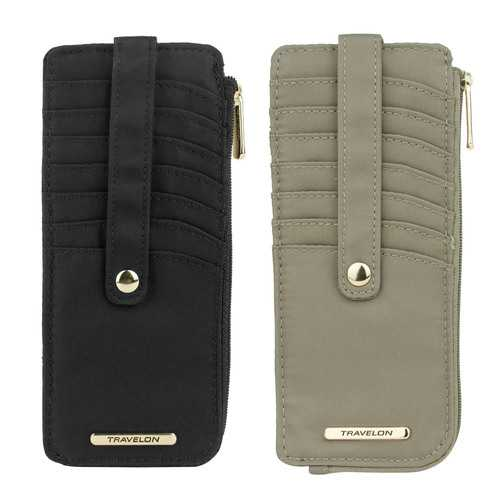Travelon Set of 2 RFID Anti-Theft Tailored Slim Zip Wallets (Sable & Onyx)