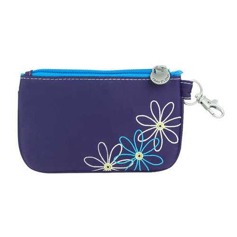 Travelon RFID Blocking Daisy Zip ID Card Holder Coin Pouch Wallet Purple
