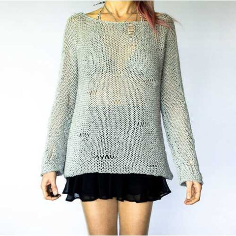 Handmade Grey Knitwear Cozy Jumper Chunky Sweater