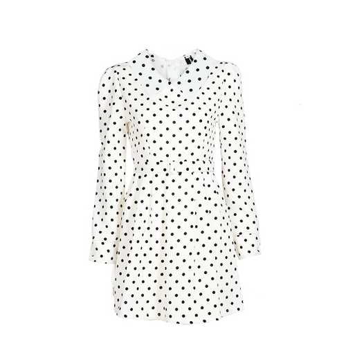 Zanzea Polka Dots High Waist Doll Collar Long Sleeve Dress