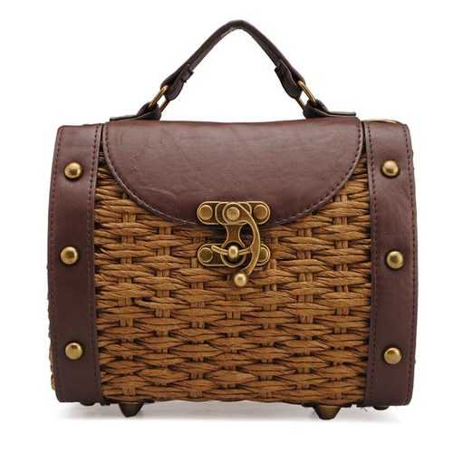 Women Staw Woven Shoulder Bag Beach Bag Handbag