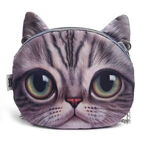 Women Cute Cartoon Cat Head Pattern Shoulder Bag Chain Cross Body Bag