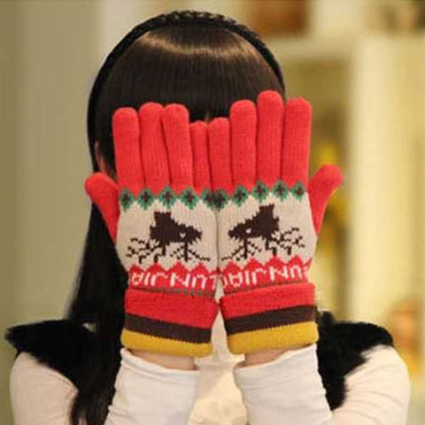 Women Warm Printed Knitted Five Finger Gloves