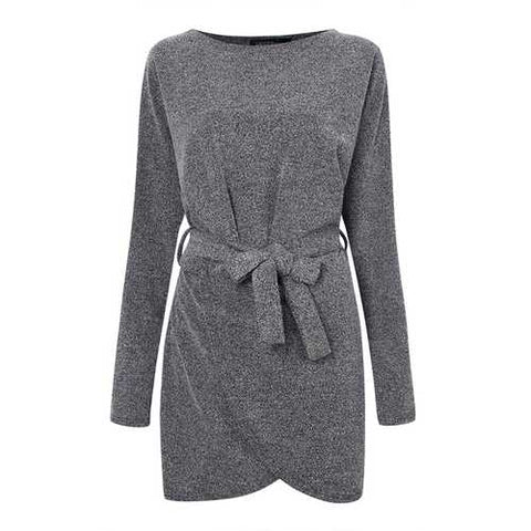 Plus Size Women Loose Gray Long Sleeve Wrap Dress With Belt