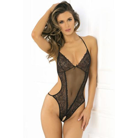 Crotchless Lace & Mesh Teddy - Small/medium - Black