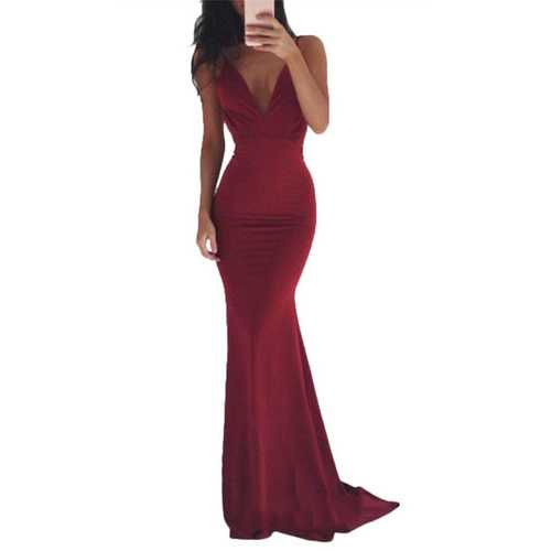 Sexy Deep V-neck And Backless Floor-length Evening Dress