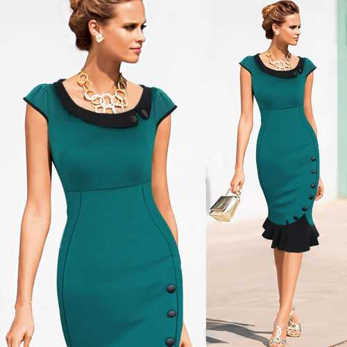 Casual Cap Sleeves Button Belt Decoration Midi Dress