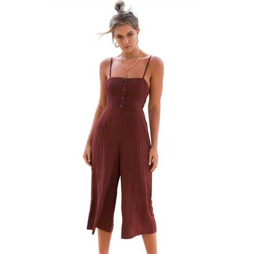 Thin Shoulder Straps And Cropprd Trouser Jumpauit With Button Decorated At Front Brick Red