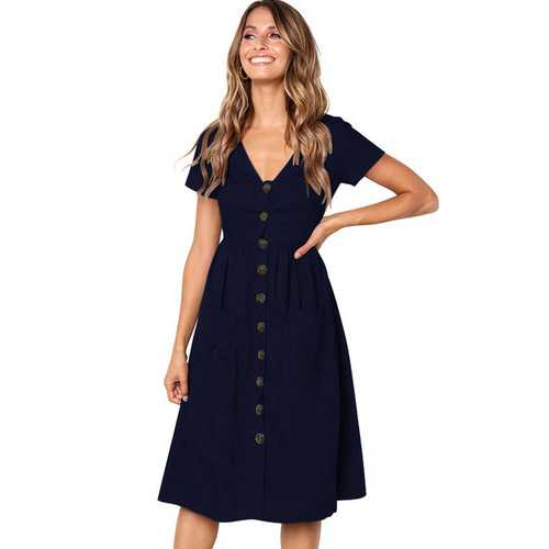 Uhnice Women V-neck with Button Pocket Summer Short-sleeved Midi Dress Dark Blue