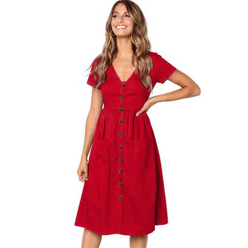 Uhnice Women V-neck with Button Pocket Summer Short-sleeved Midi Dress Red