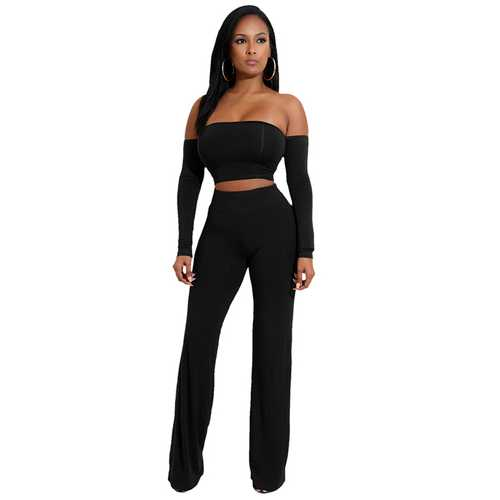 Black Strapless Long Sleeve Strappy Two-piece Of Pantsuit
