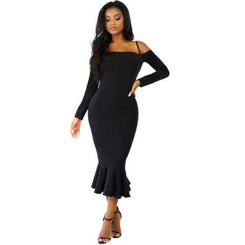 Black Off-shoulder Hammock Long Sleeve Mermaid Ruffle Dress
