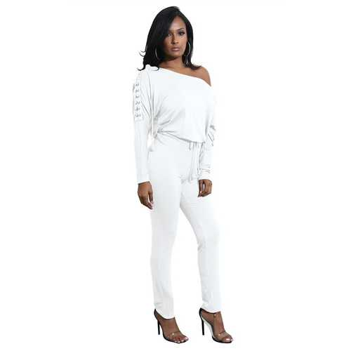 White Slanted One Shoulder Jumpsuit