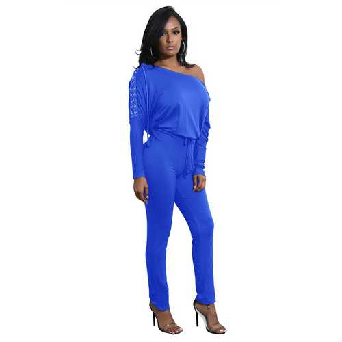 Bright Blue Slanted One Shoulder Jumpsuit