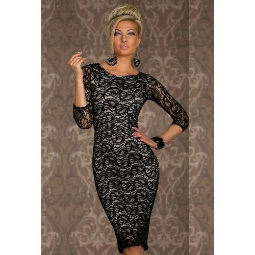 Siren Paisley Lace Midi Dress Black