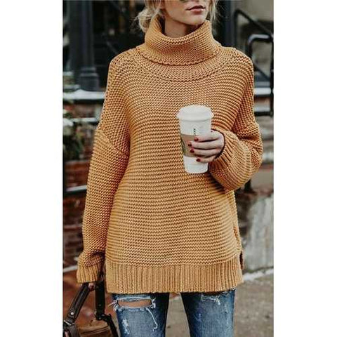Yellow High Neck Sweater for Women