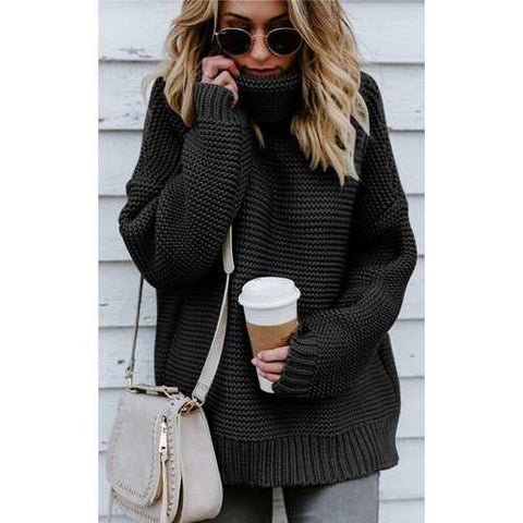 Black High Neck Sweater for Women