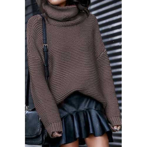 Brown High Neck Sweater for Women