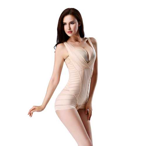 Hot Sell One-piece Deep V-Neck Striped Shapewear  Apricot
