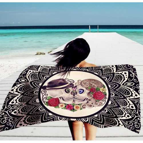 Sugar Skull Beach Towel White