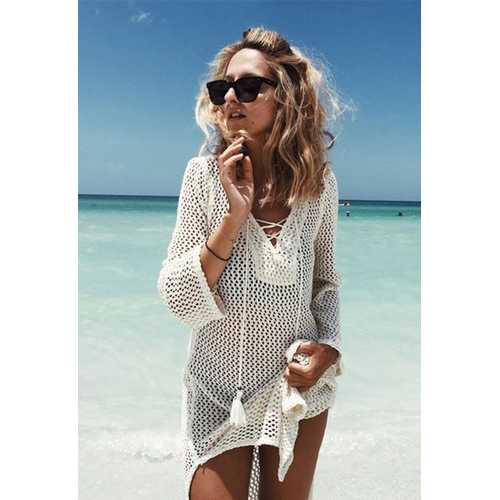 2017 Women's Bathing Suit Cover Up Crochet Mesh Knit Bikini Swimsuit Swimwear