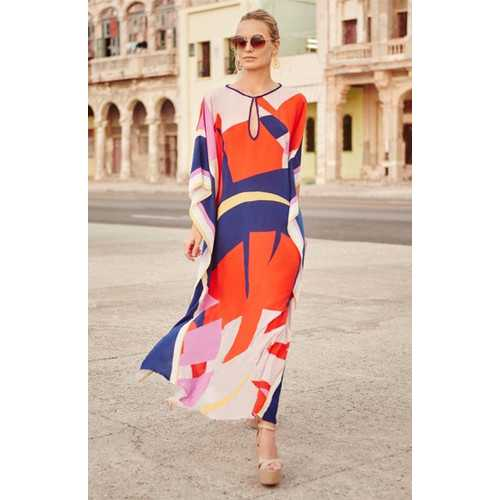 Artistic Colorful Floral Print Chiffon Beach Dress