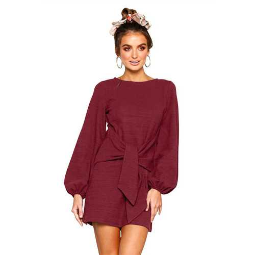 Women Loose Style O neck Mini Dress With Puff Sleeve And Lace Up Detail At Front Wine Red