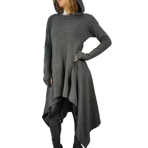 Women's Irregular Hem Long Sleeve Knitted Dress Sweater Pullover Hoody
