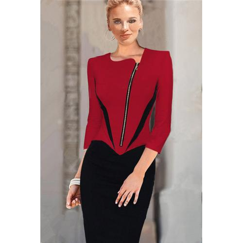 Office Lady Style Hot Sale V Neck Zipper Front Fitted Bodycon Midi Dress Dark Red Black