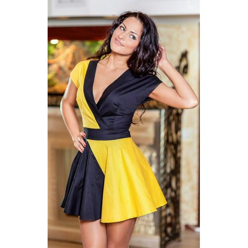 New arrival fashion sexy v-neck skater dress yellow&black
