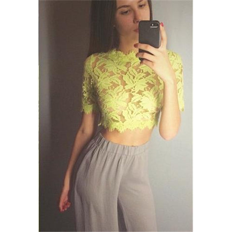 Gorgeous Sophisticated Lace Crochet Blouse Yellow