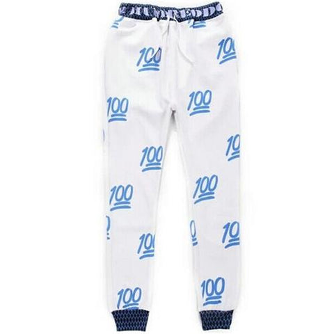 Digital Printing Causual Sports Pencil Pants White