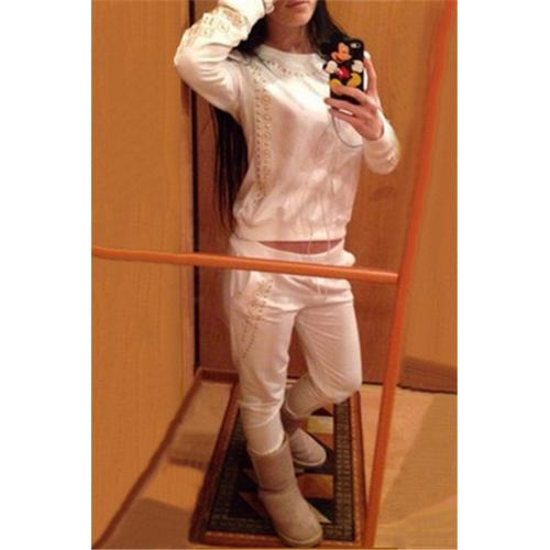 Fashion Skull Sequined Long-sleeve Hoody and Long Pants Set White