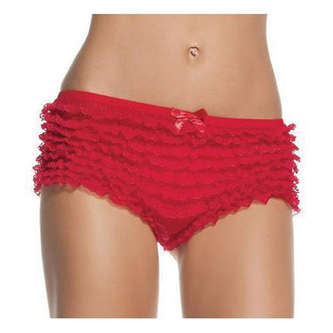BRIEFS LACE RUFFLE RED