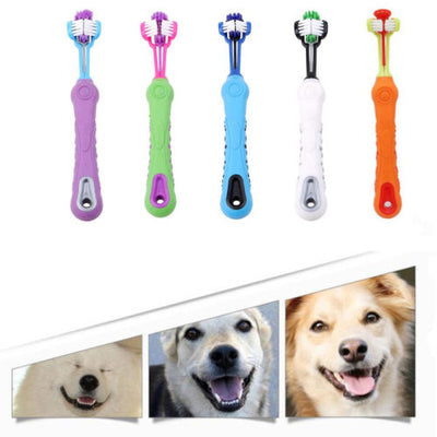 Three Sided Pet Cleaning Toothbrush - Groomed Petz