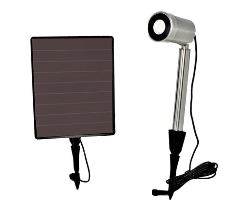 Stainless steel solar light w/ cool or warm option and spot or flood light options