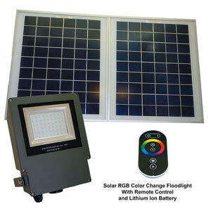 Solar Powered Flood Light with Remote Controlled Color Changing LED