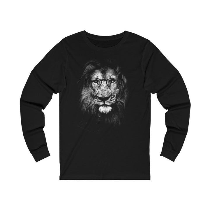 Lion Wearing Glasses - Unisex Jersey Long Sleeve Tee