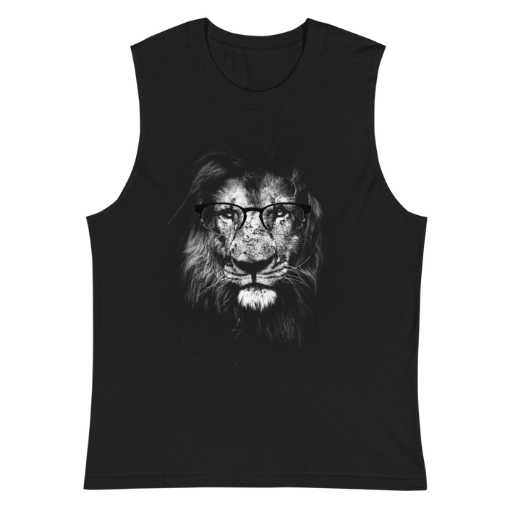 Lion Wearing Glasses - Mens Muscle Shirt