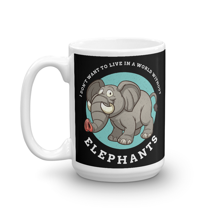 A world without Elephants Cartoon Mug - 15oz