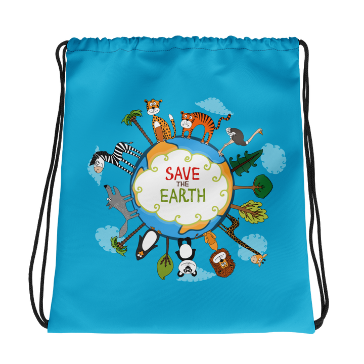 Save the Earth Illustration - Drawstring Bag