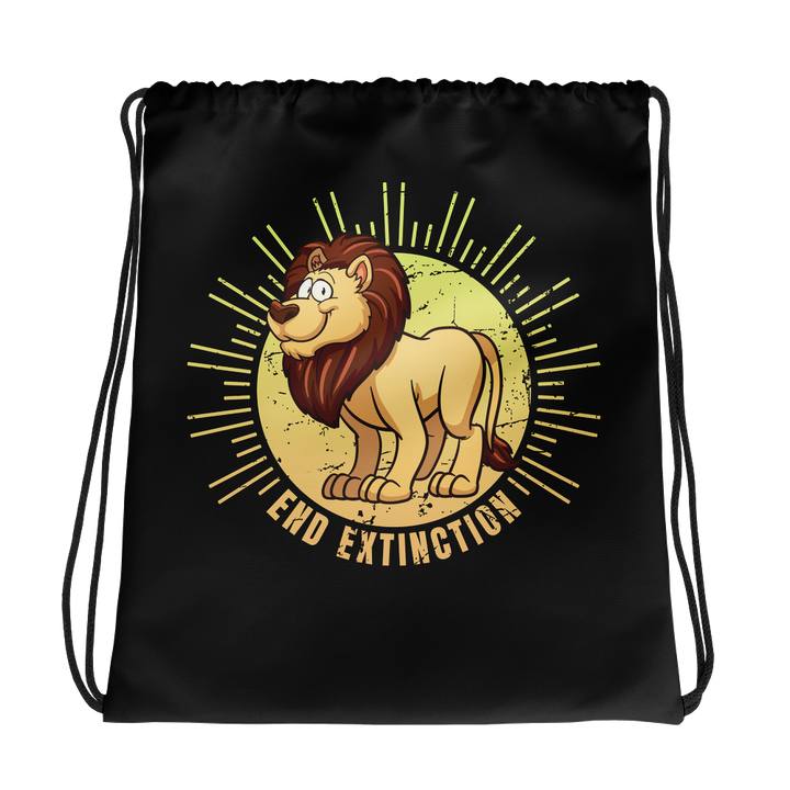 End Extinction - Lion Cartoon Drawstring Bag