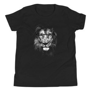 Lion Wearing Glasses - Youth Short Sleeve T-Shirt