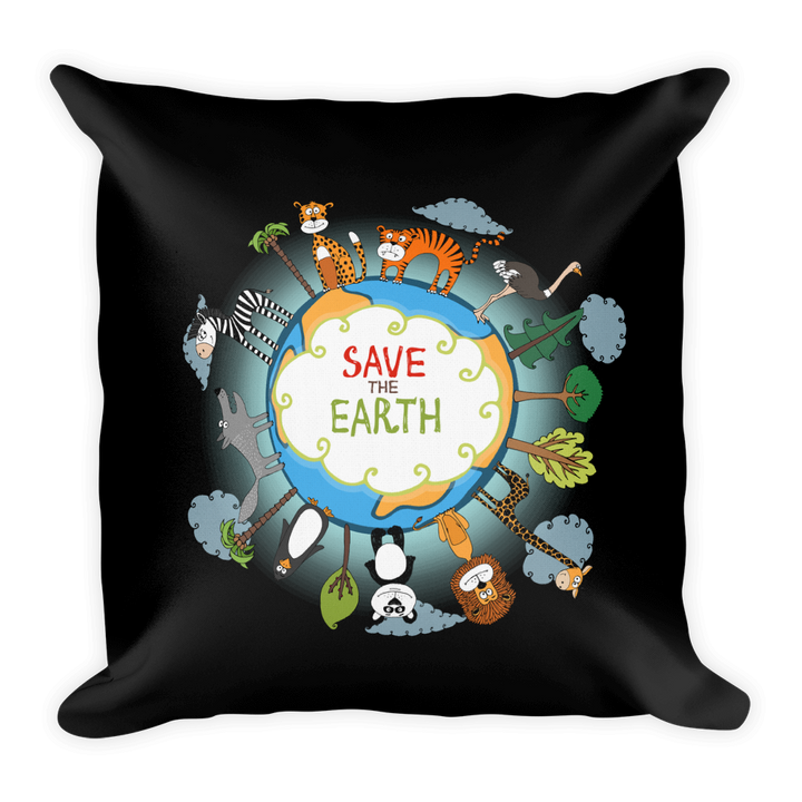 "Save the Earth Illustration - 18""x18"" Pillow"