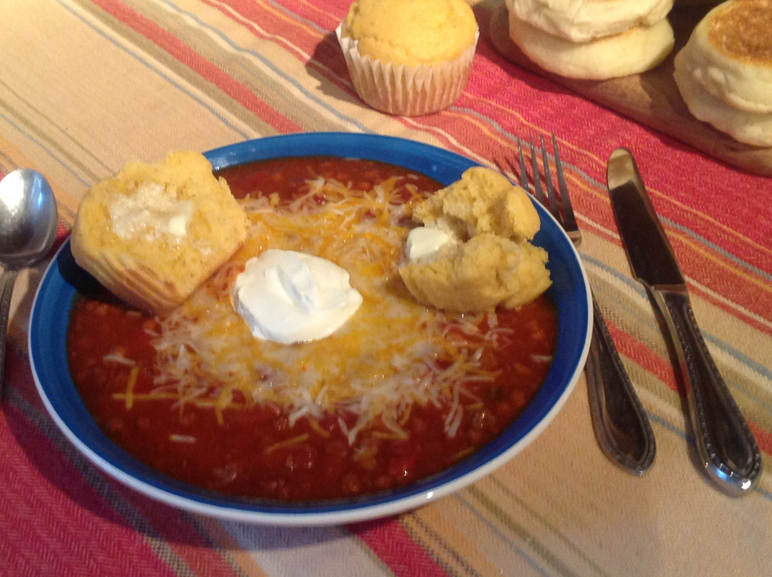 Chili with Corn Muffins and Sour Cream