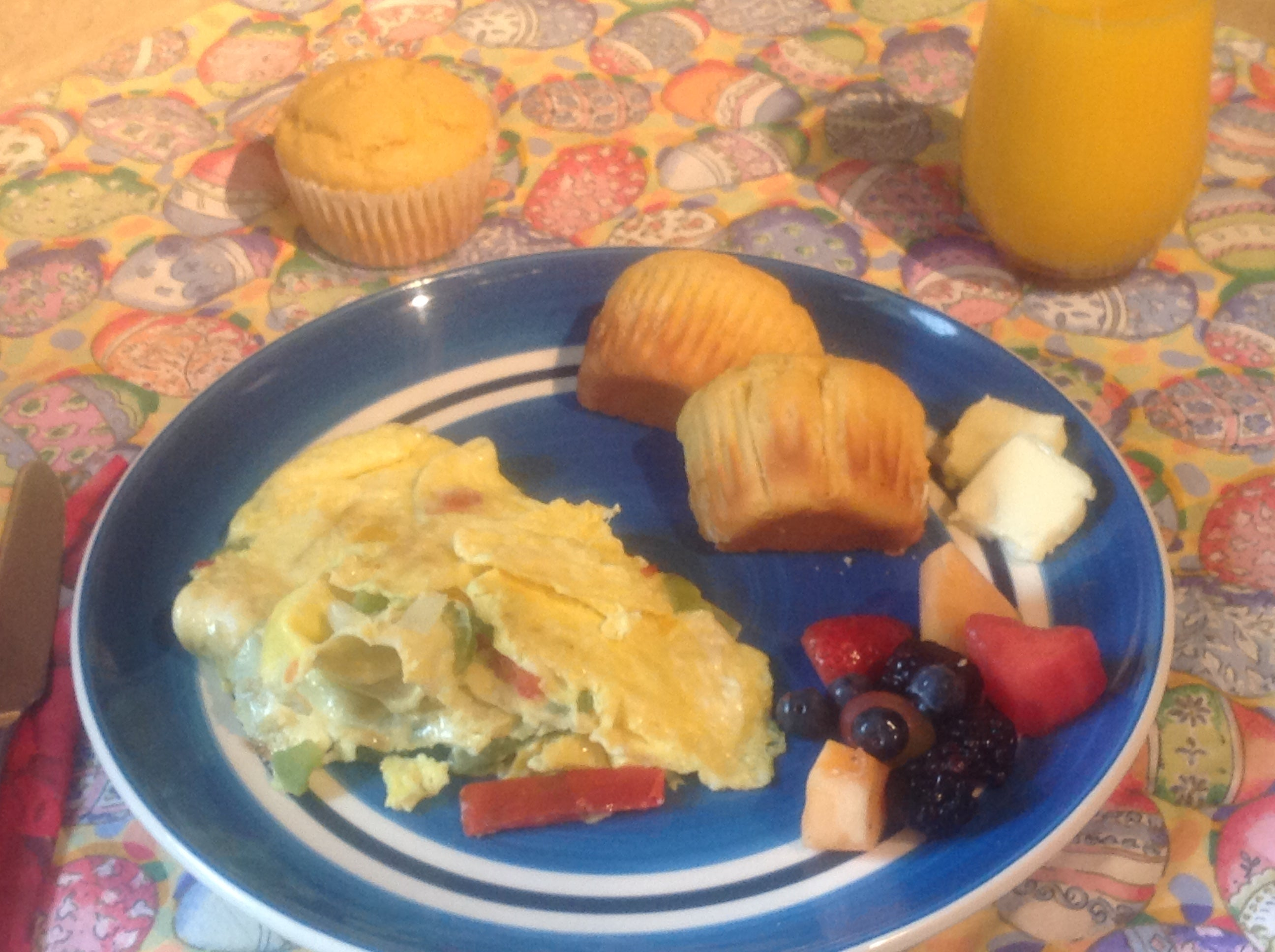 Omelette with Orange Citrus Corn Muffins and Berries